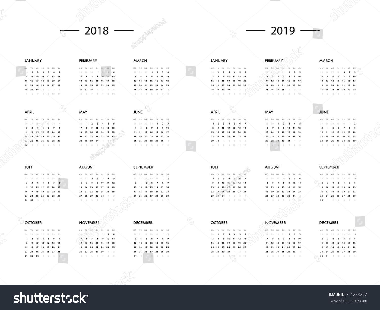 template calendar 2018
