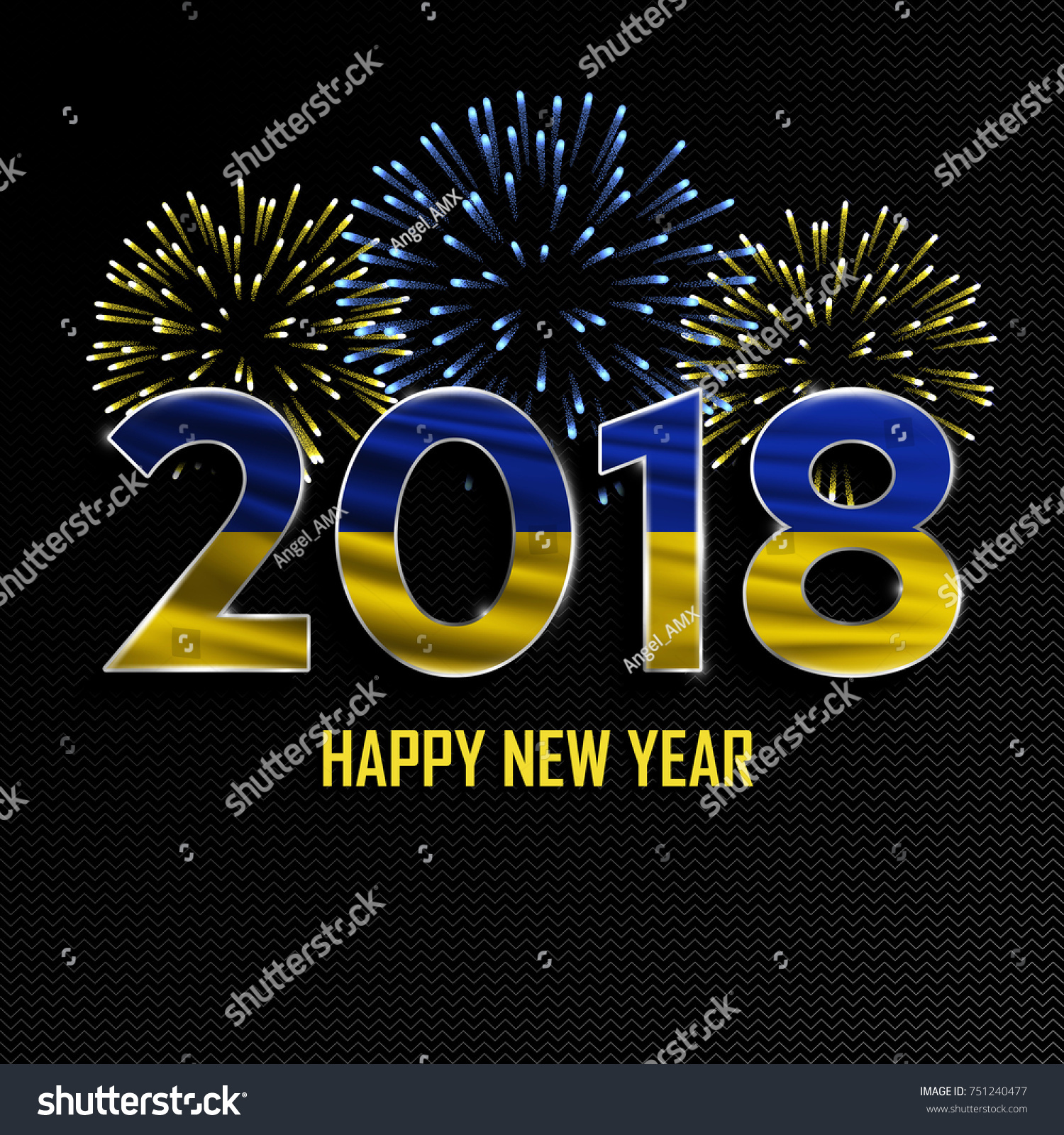 happy new year and merry christmas 2018 new year background with national flag of ukraine