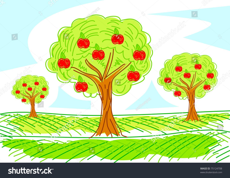 Apple Orchard Stock Vector 75124708 - Shutterstock