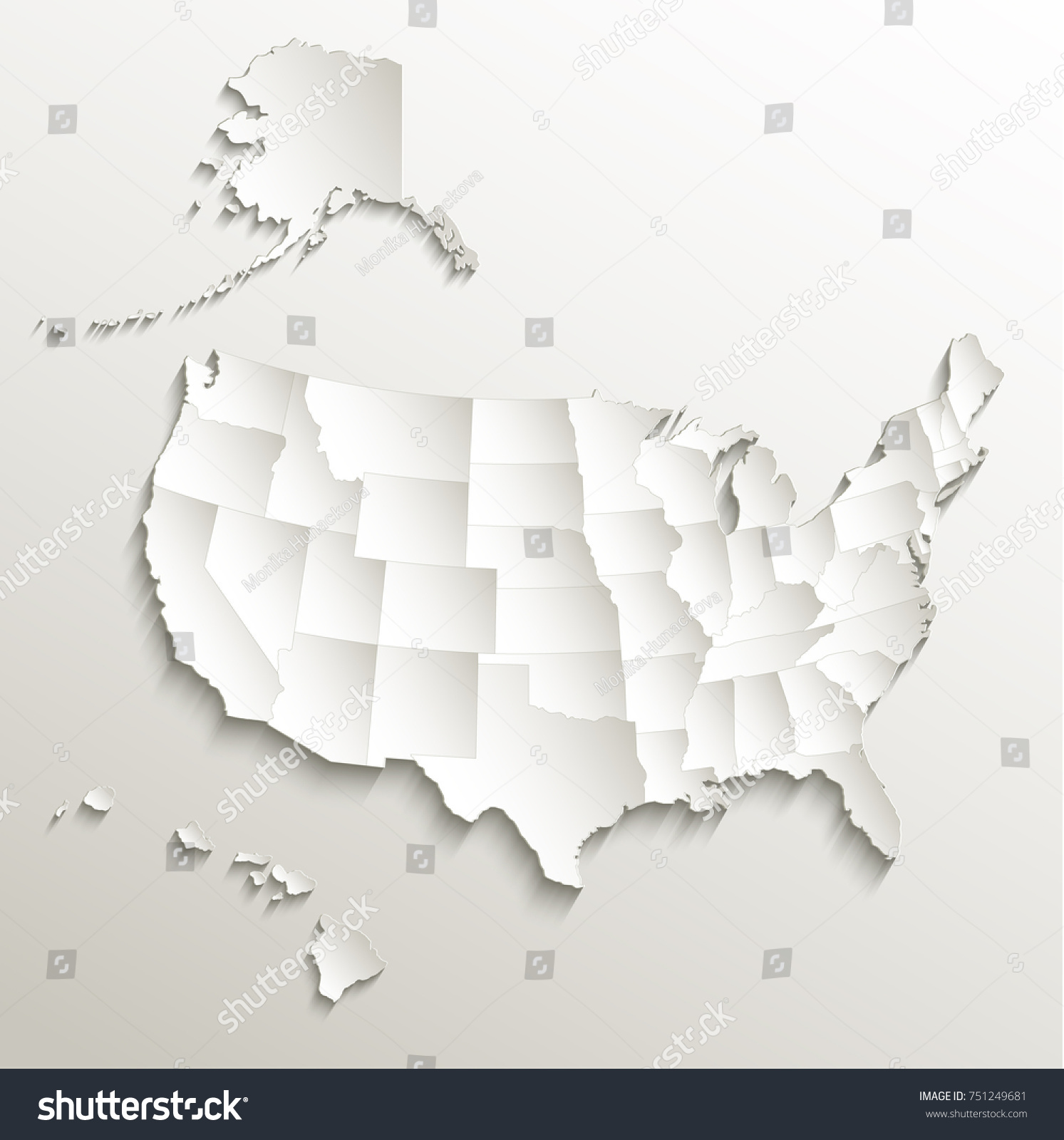 USA Map Alaska Hawaii Separate States Stockillustration 751249681 ...