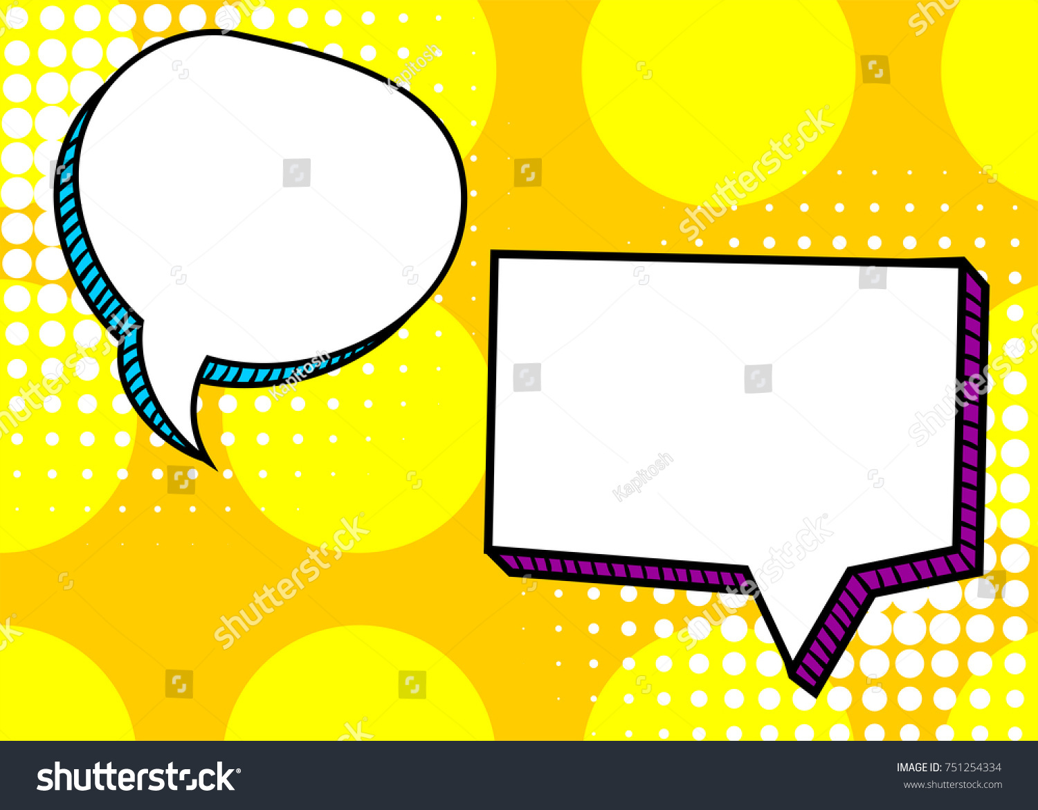 set dialog picture blank template pop stock vector royalty free