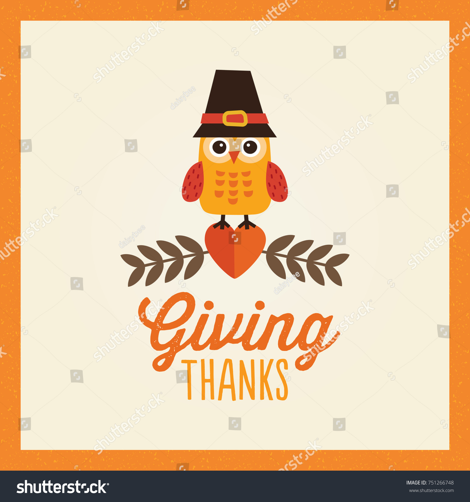 Retro Thanksgiving Day Card Design With Cute Little Owl In Pilgrim