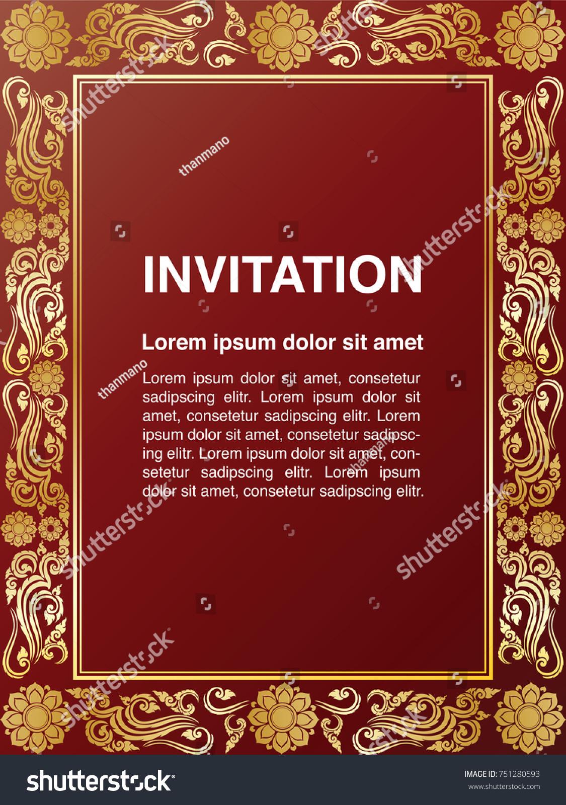 Invitation template background frame border vector stock for Classic border design