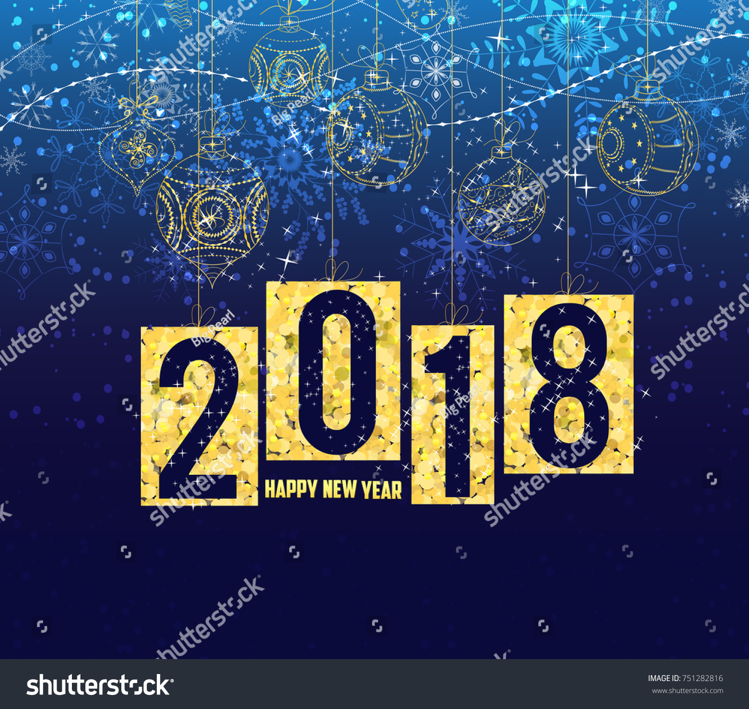happy new year 2018 gold theme winter christmas background with balls