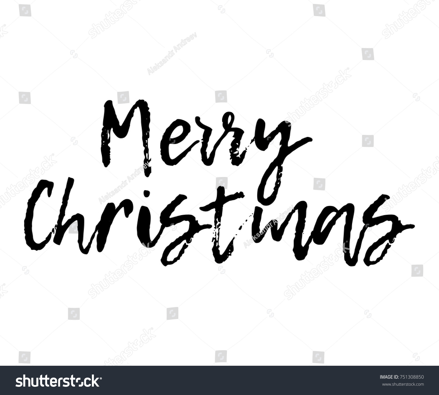 Merry Christmas text. Vector illustration isolated on a white ...