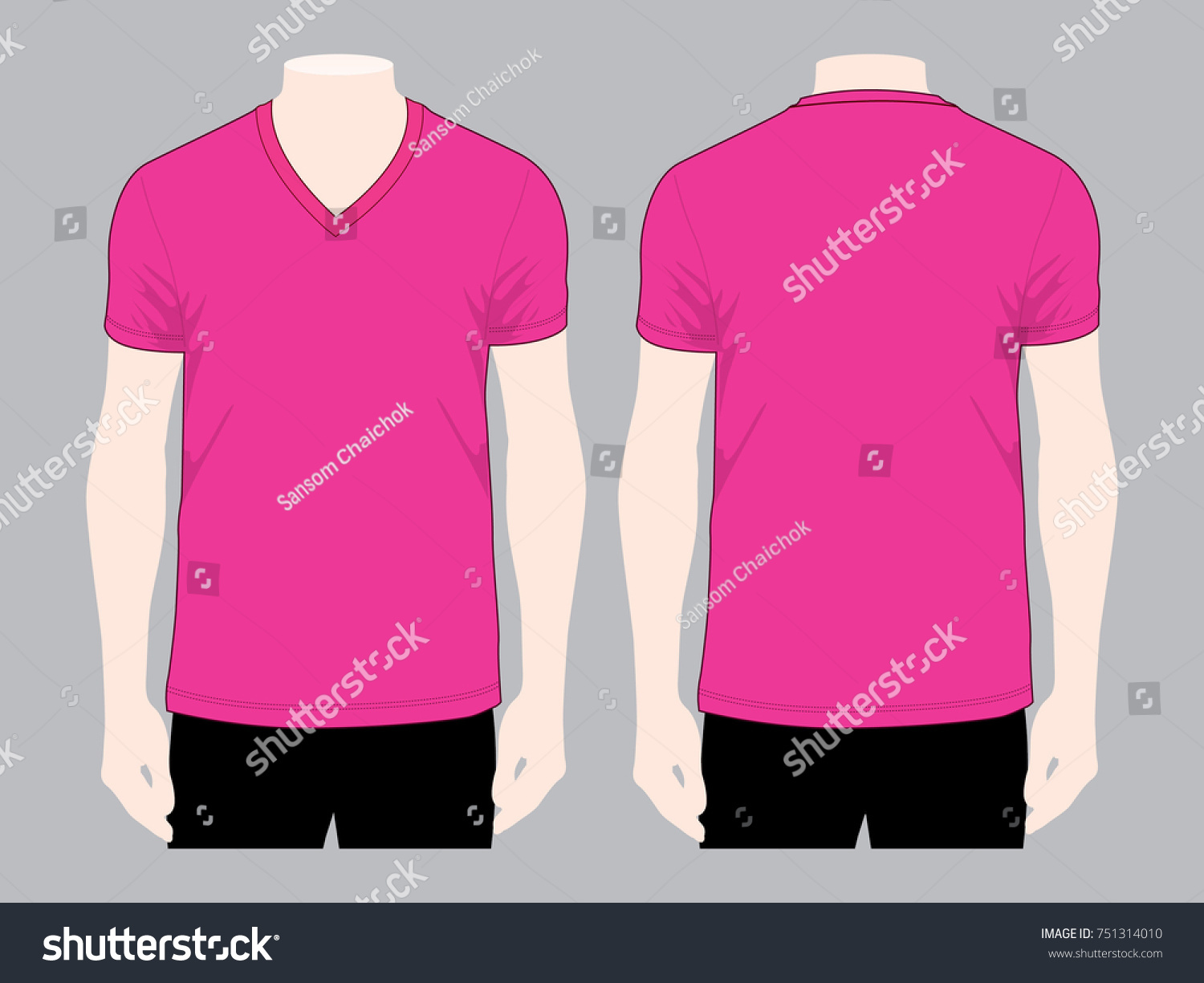 Pink V Neck T Shirt Template Stock Photo (Photo, Vector ...