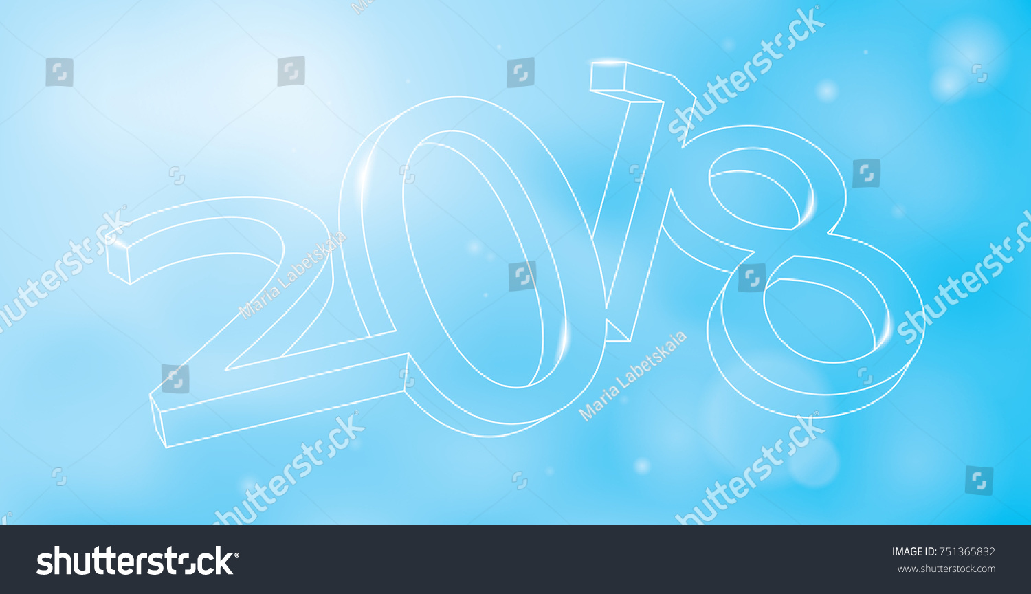 vector 2018 new year banner background illustration 3d wireframe sign on blured background with flares