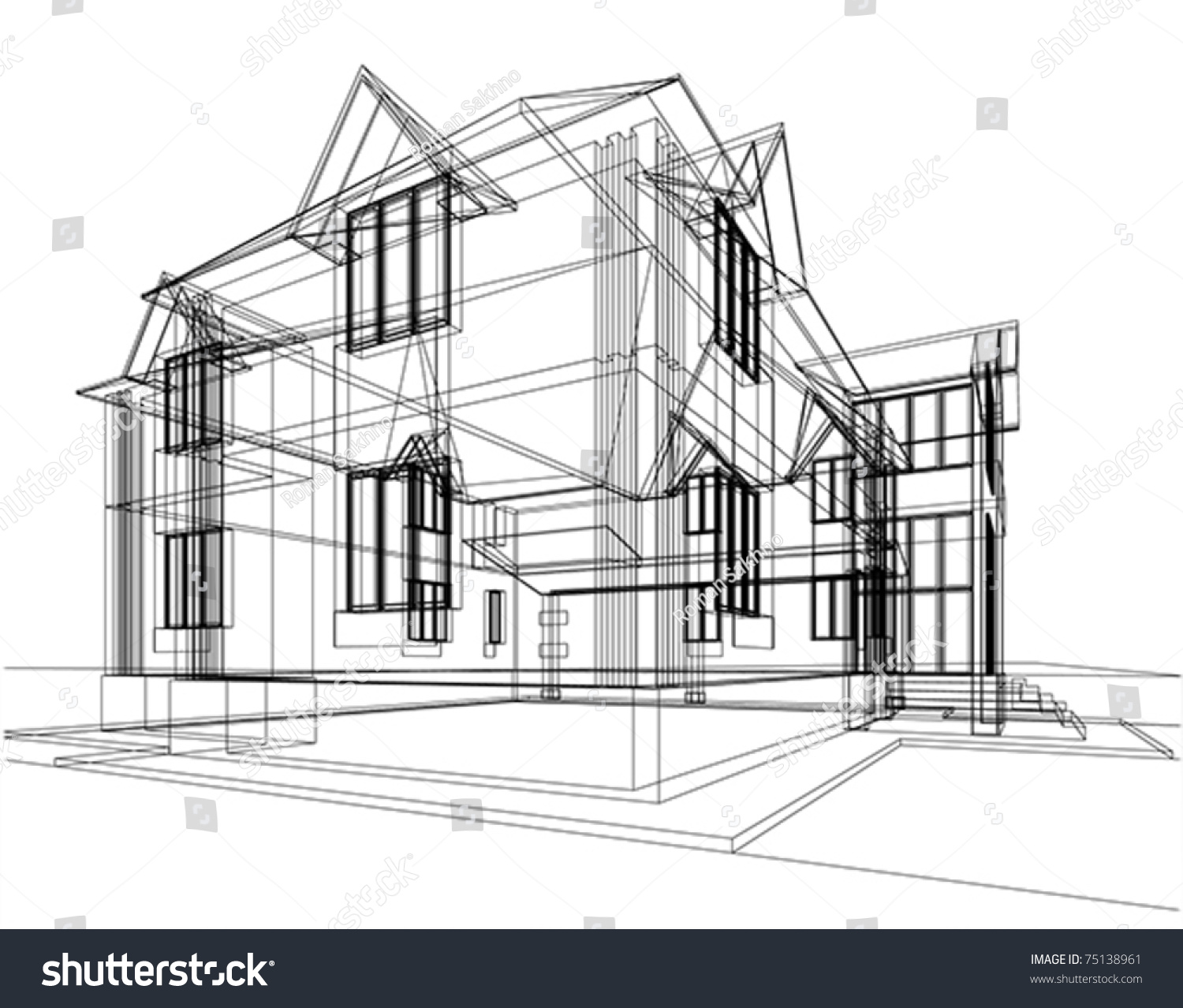 Abstract Sketch House Architectural 3d Illustration Stock