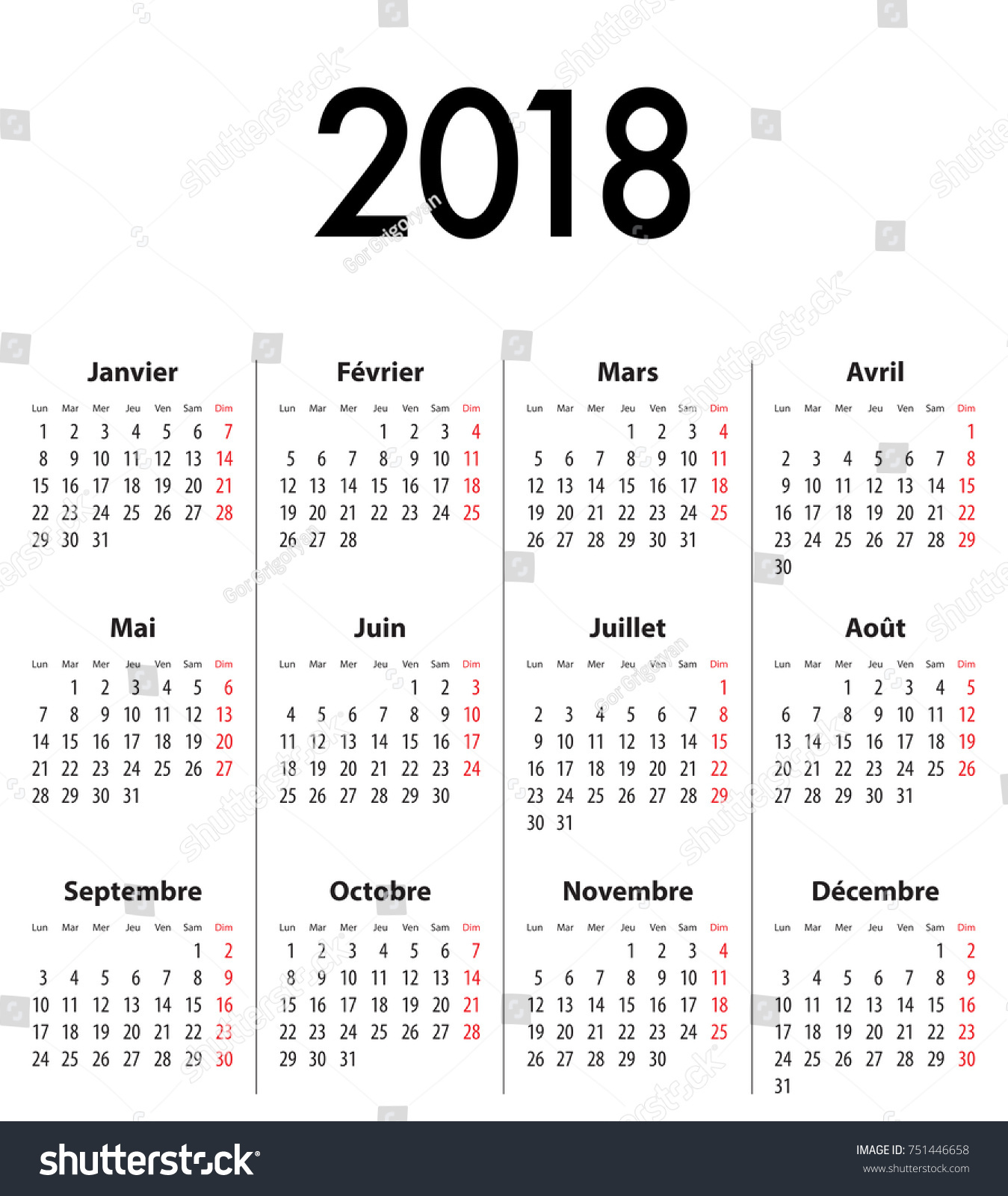 french calendar grid for 2018 best for calendar print business web design