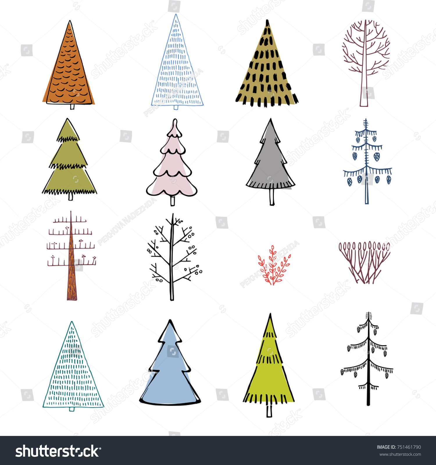 Set Hand Illustrated Christmas Trees Doodle Stock Vector (Royalty ...