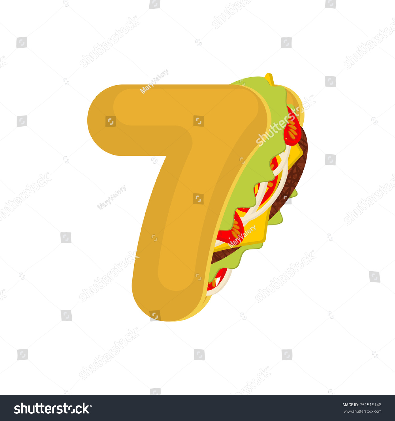 Number 7 Tacos Mexican Fast Food Stock Illustration Royalty Free