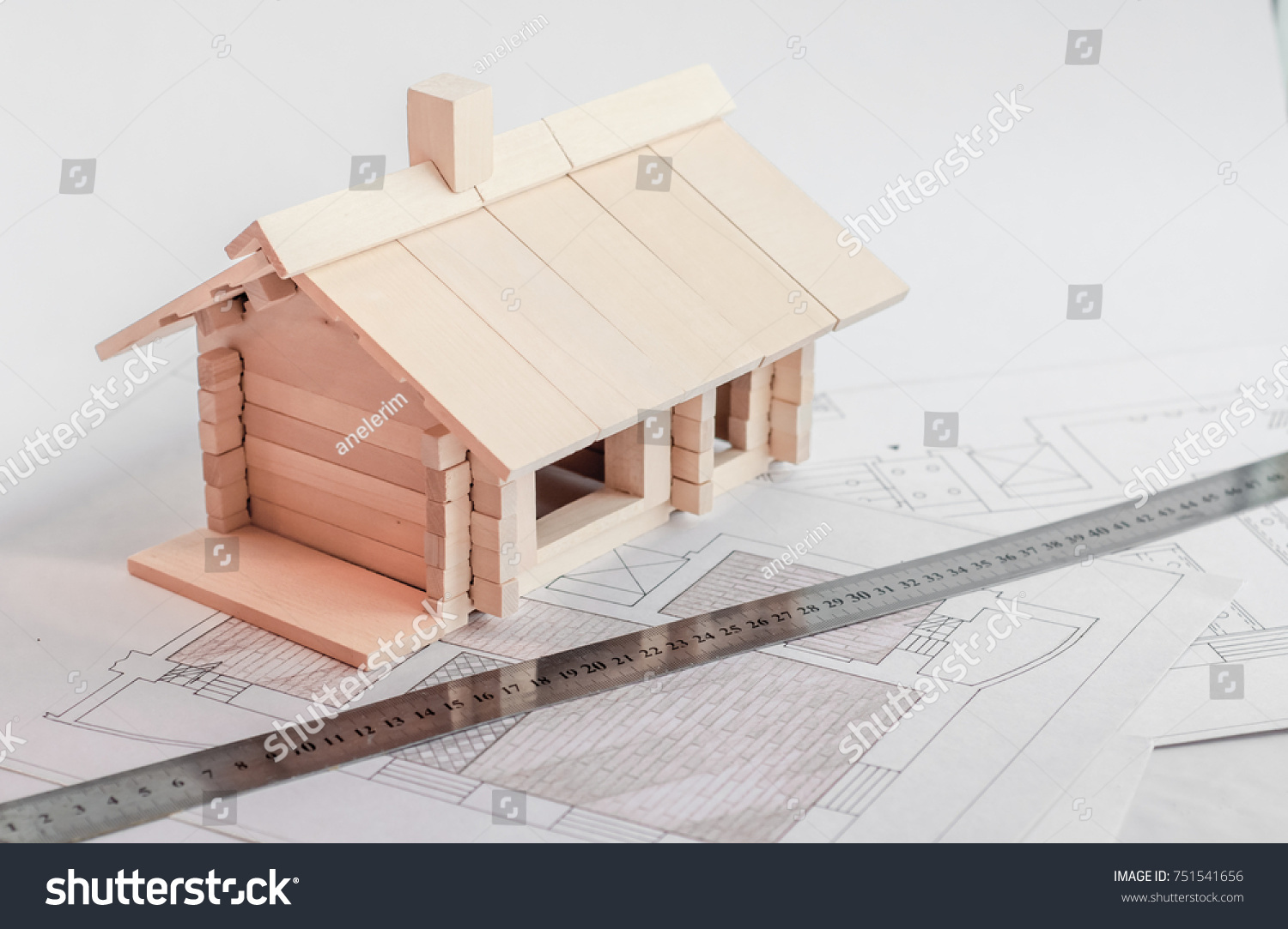 Layout Wooden House Construction Drawings Design Stock Photo (Safe ...