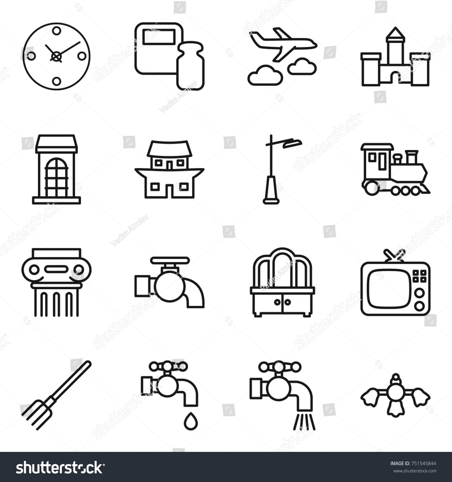 Thin Line Icon Set Clock Scales Stock Vector Shutterstock