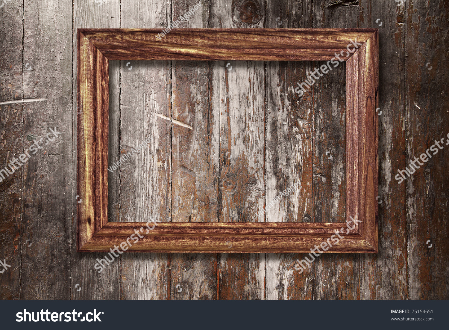 Wooden Wall Framing : Wooden photo frame on old stock