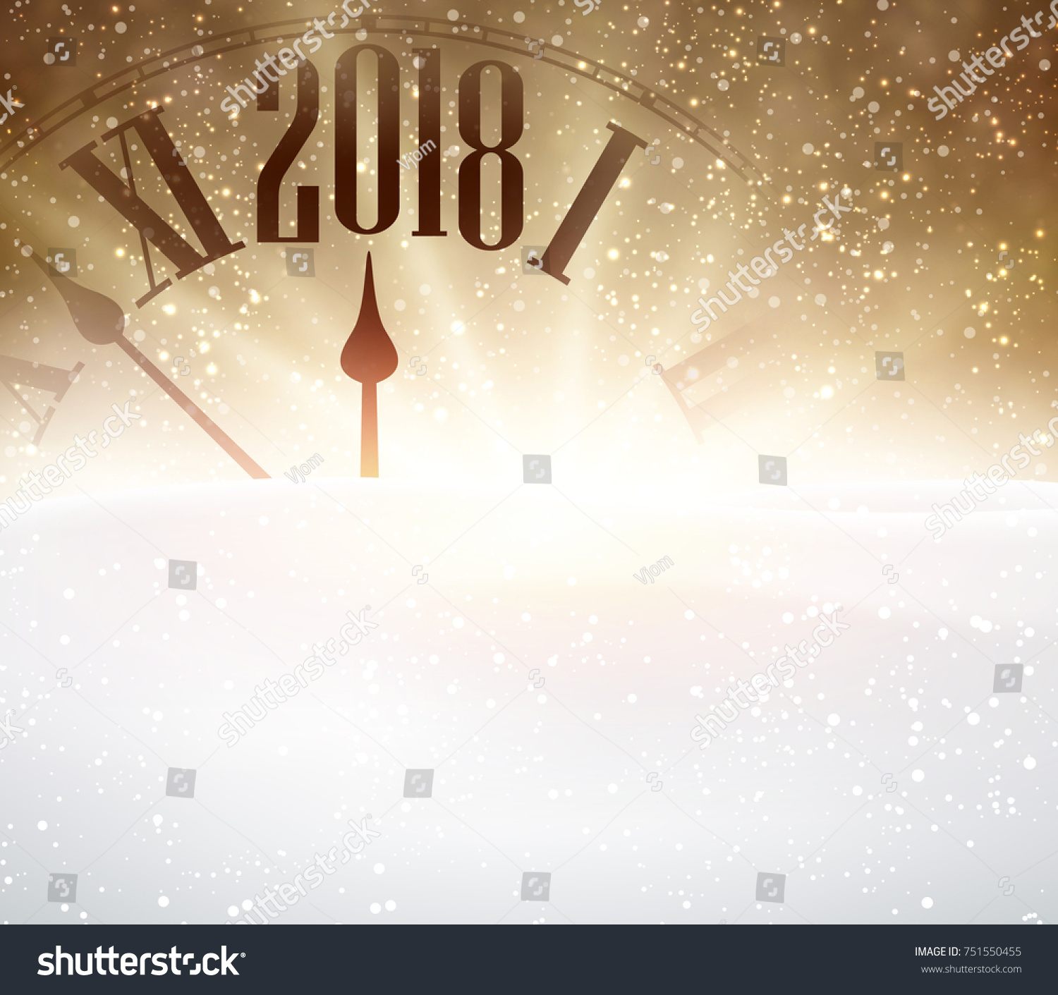 golden 2018 new year background with clock and snow vector illustration