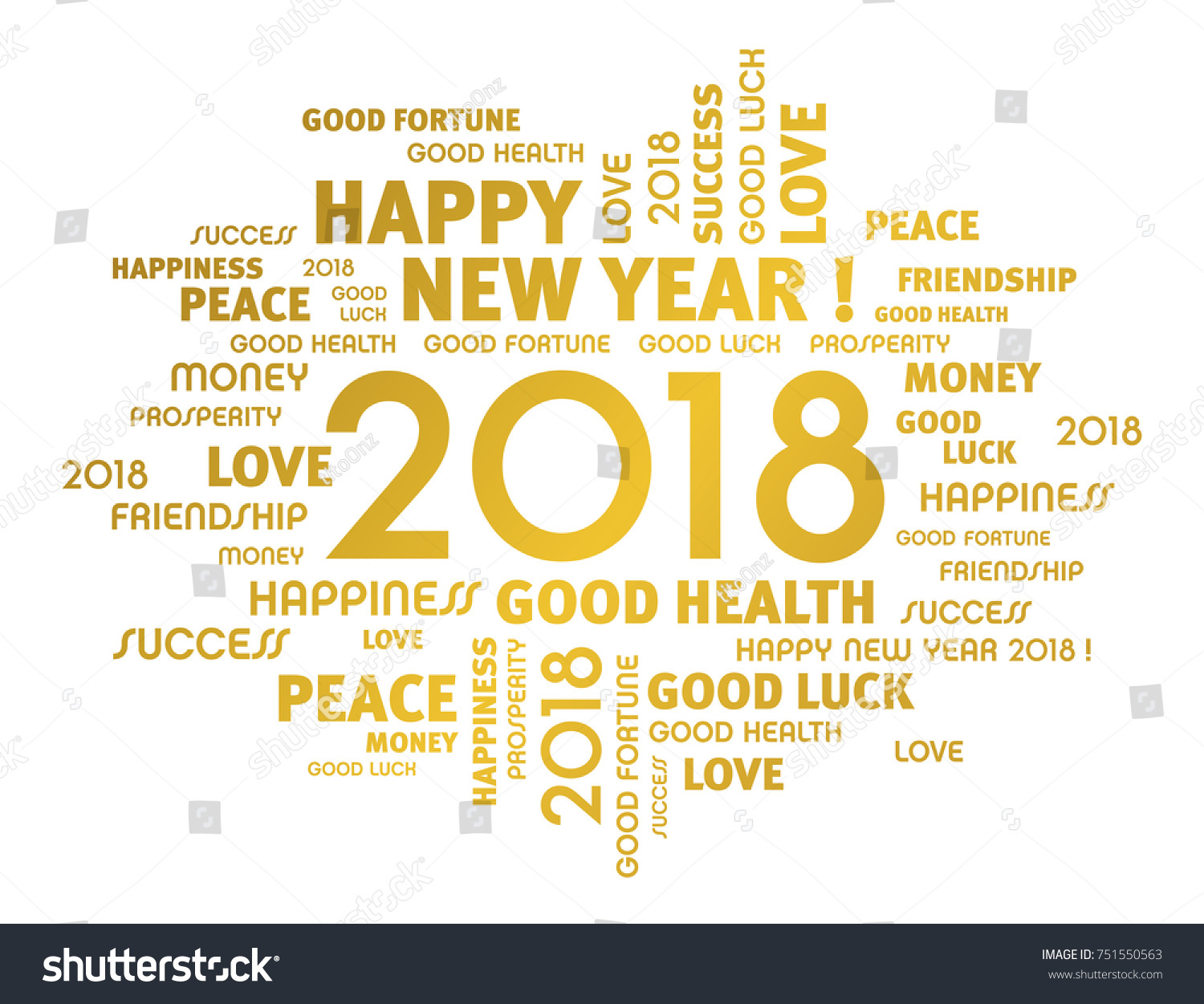 Gold greeting words around new year stock vector 751550563 gold greeting words around new year 2018 date isolated on white m4hsunfo