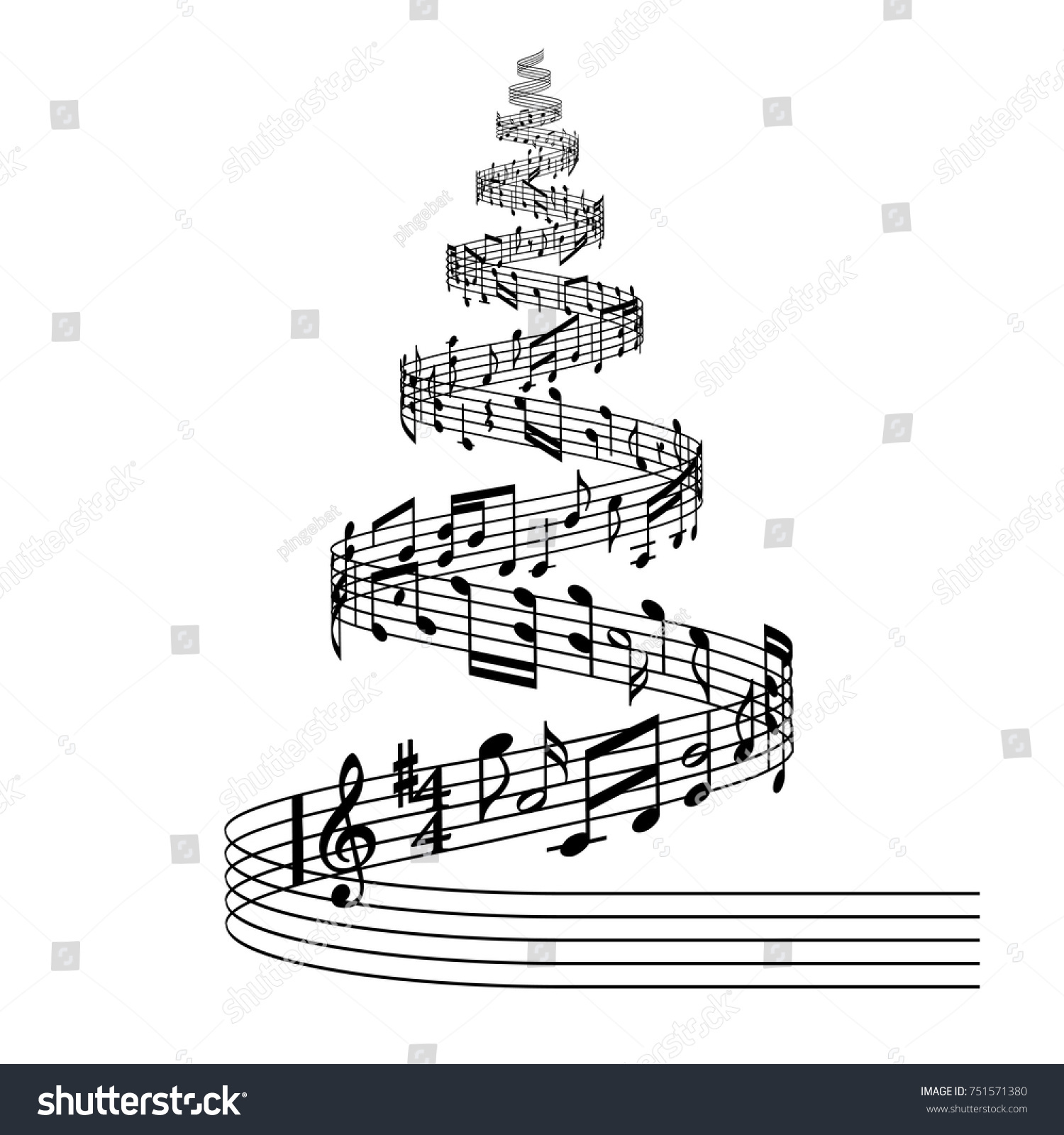Black White Vector Illustration Christmas Tree Stock Vektorgrafik
