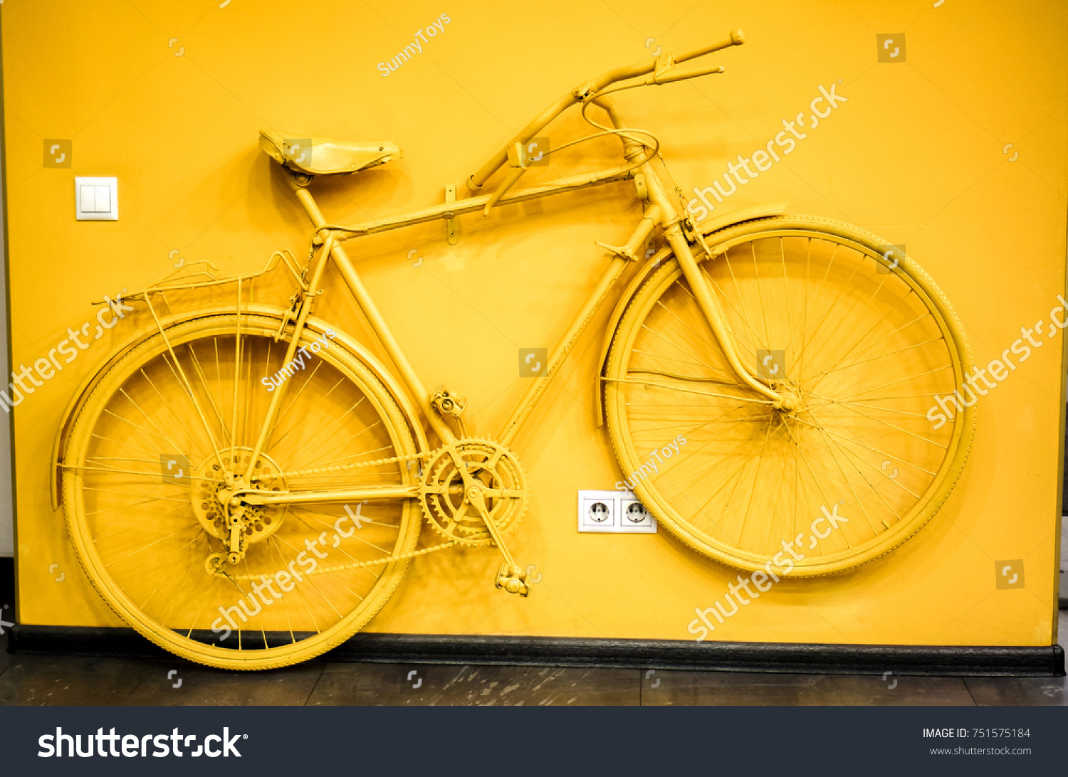 Golden Yellow Bicycle Decoration Power Socket Stock Photo (Edit Now ...