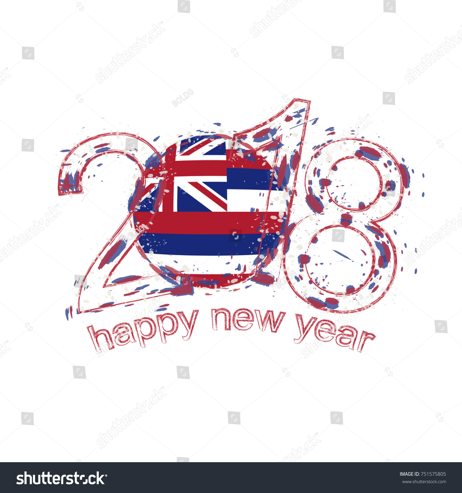 2018 happy new year hawaii us state grunge vector template for greeting card calendars 2018