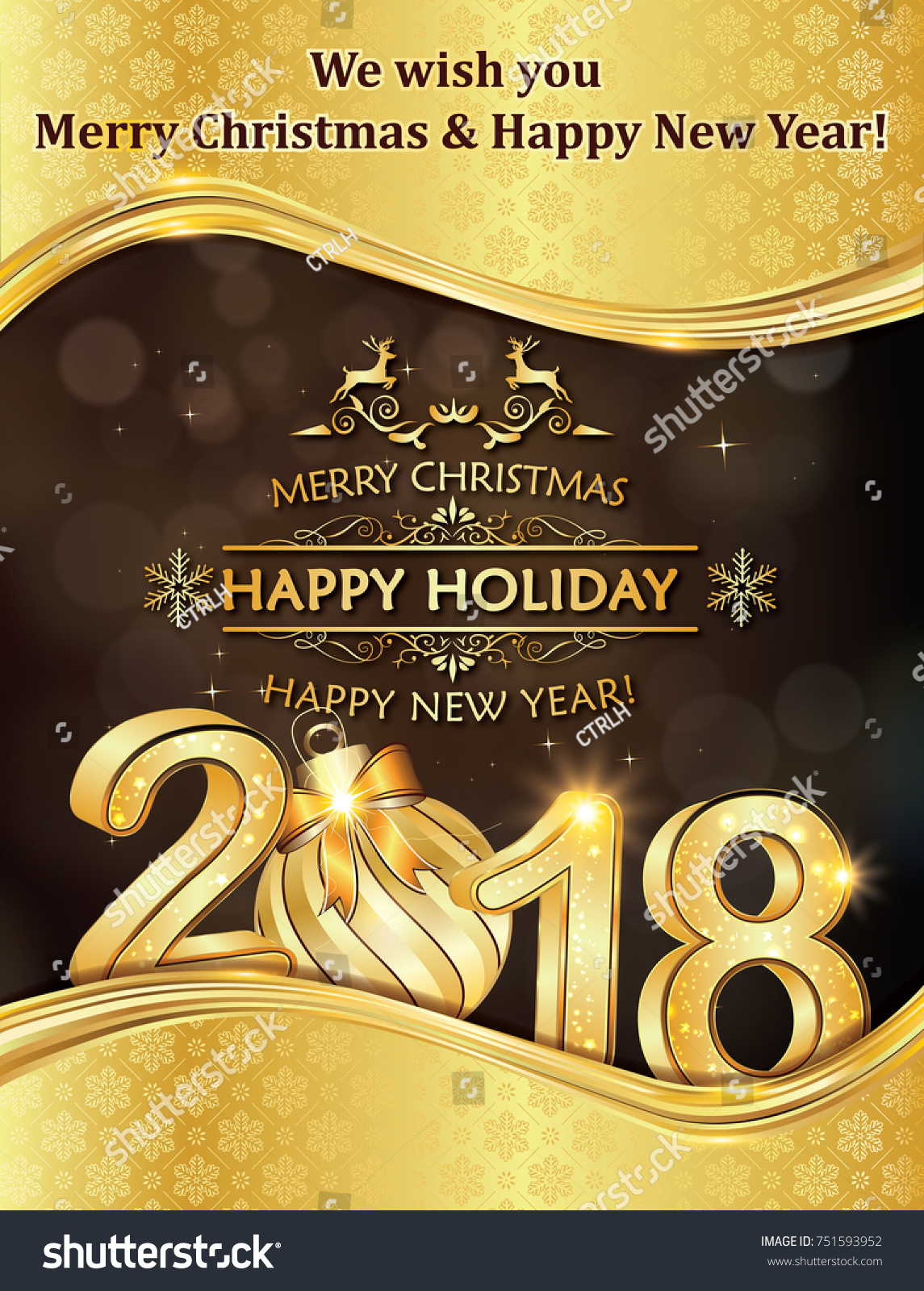 2018 merry christmas and happy new year corporate greeting card print colors used