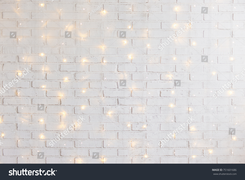 White Brick Wall Christmas Background Shiny Stock Photo Edit Now 751601686