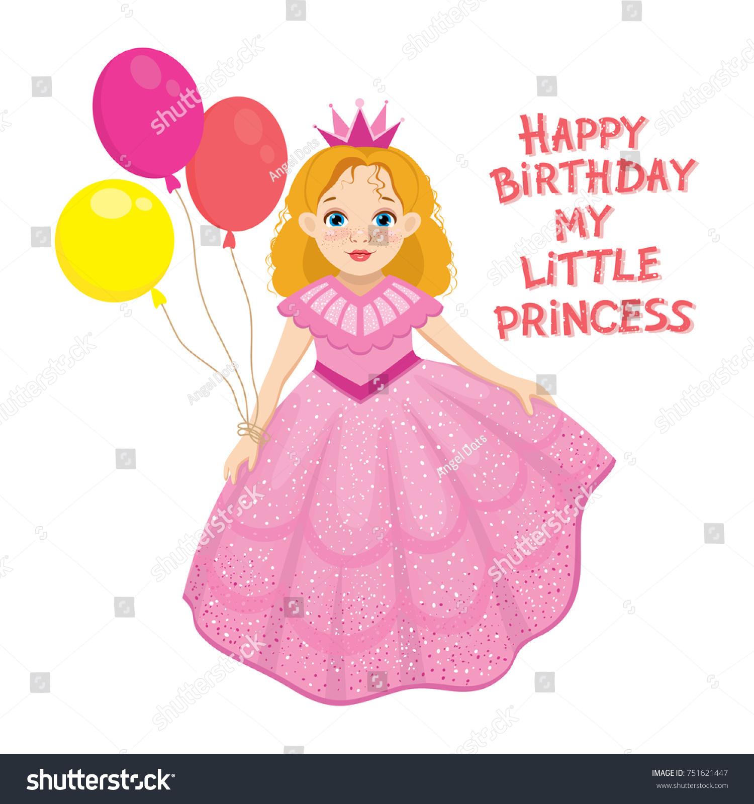 Happy Birthday Cute Fairy Girl Greeting Stock Vector 751621447