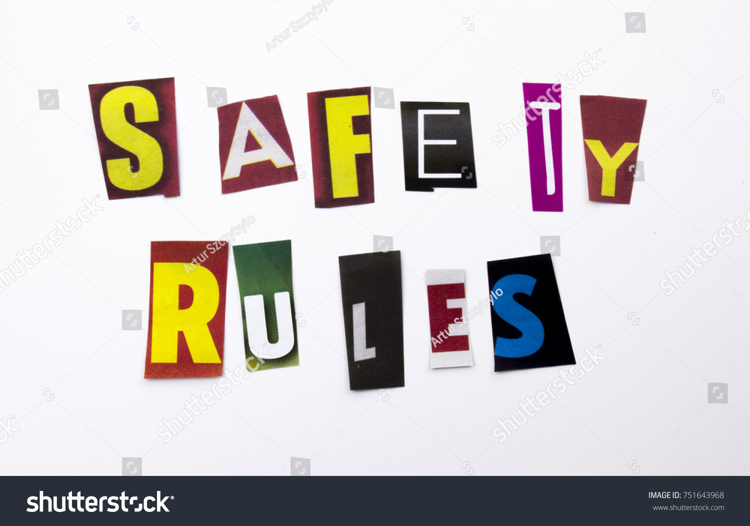 A Word Writing Text Showing Concept Of Safety Rules Made Of