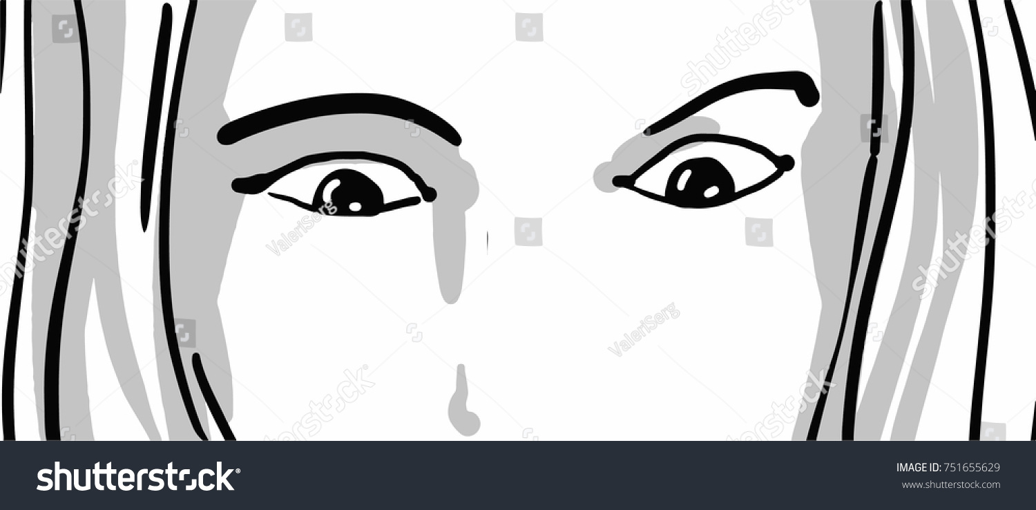 Part Female Face Astonished Eyes Looking Stock Vector Royalty Free