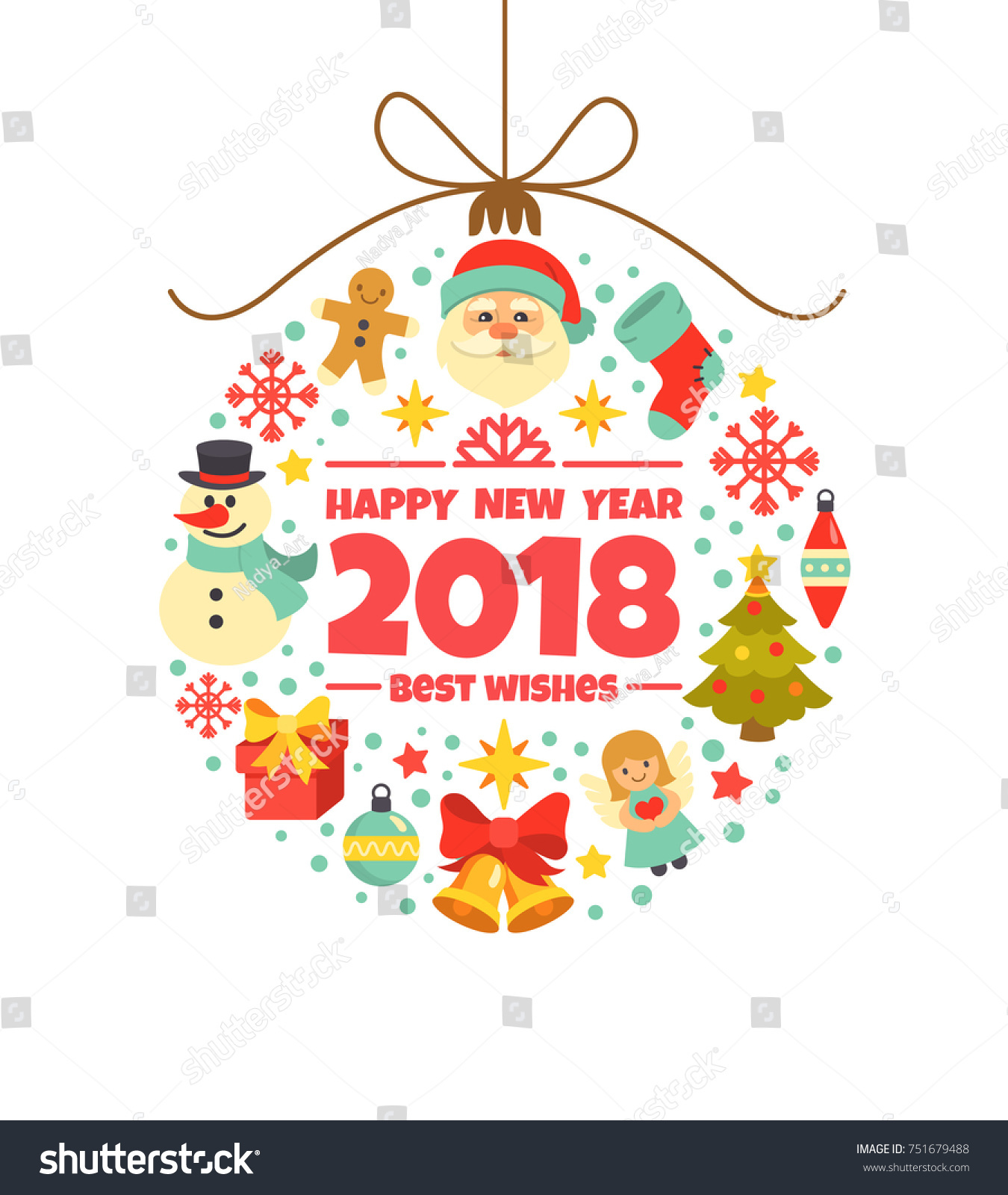 happy new year 2018 greeting card vector illustration with christmas toy consisting of christmas symbols