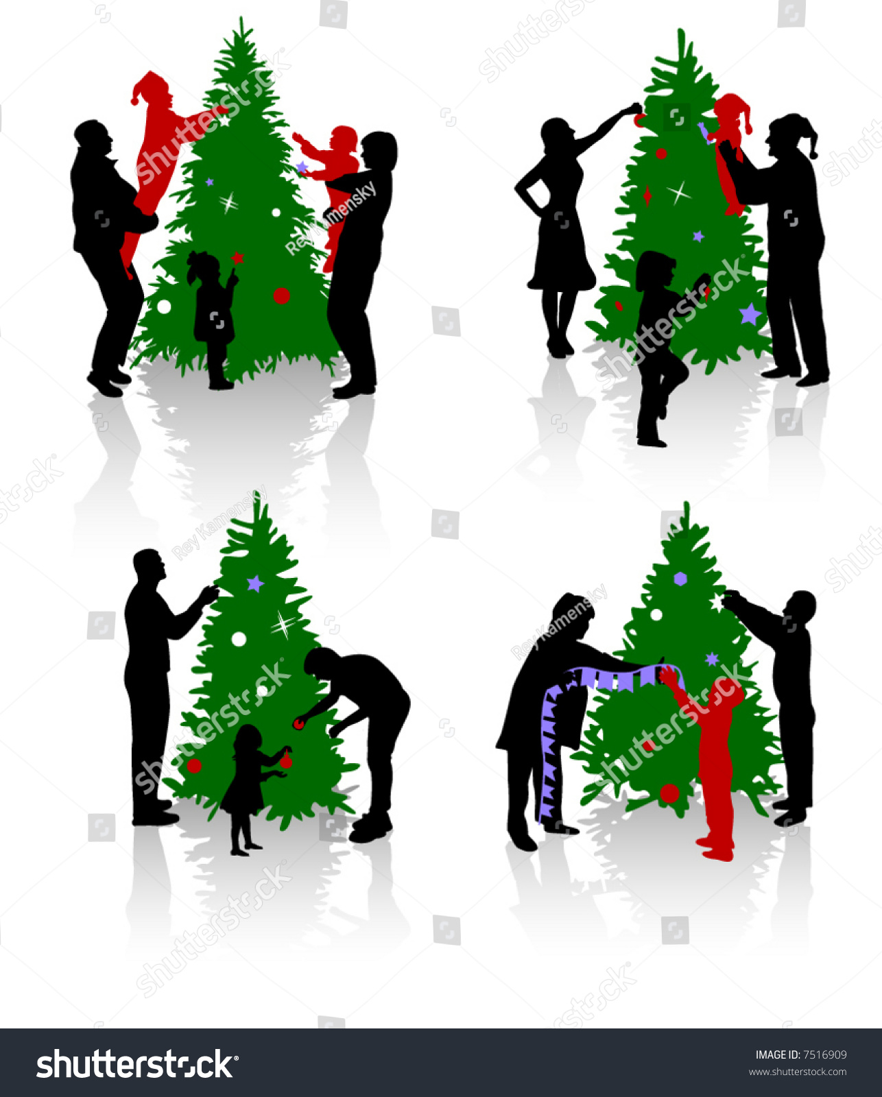 people decorating a christmas tree - People Decorating A Christmas Tree