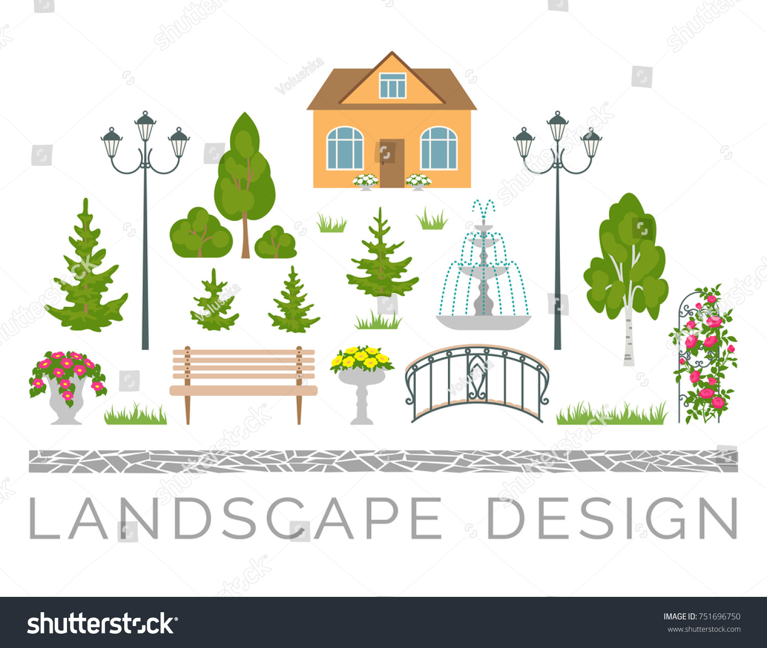 Landscape Design Colored Icons Set Including Stock Vector 751696750 ...