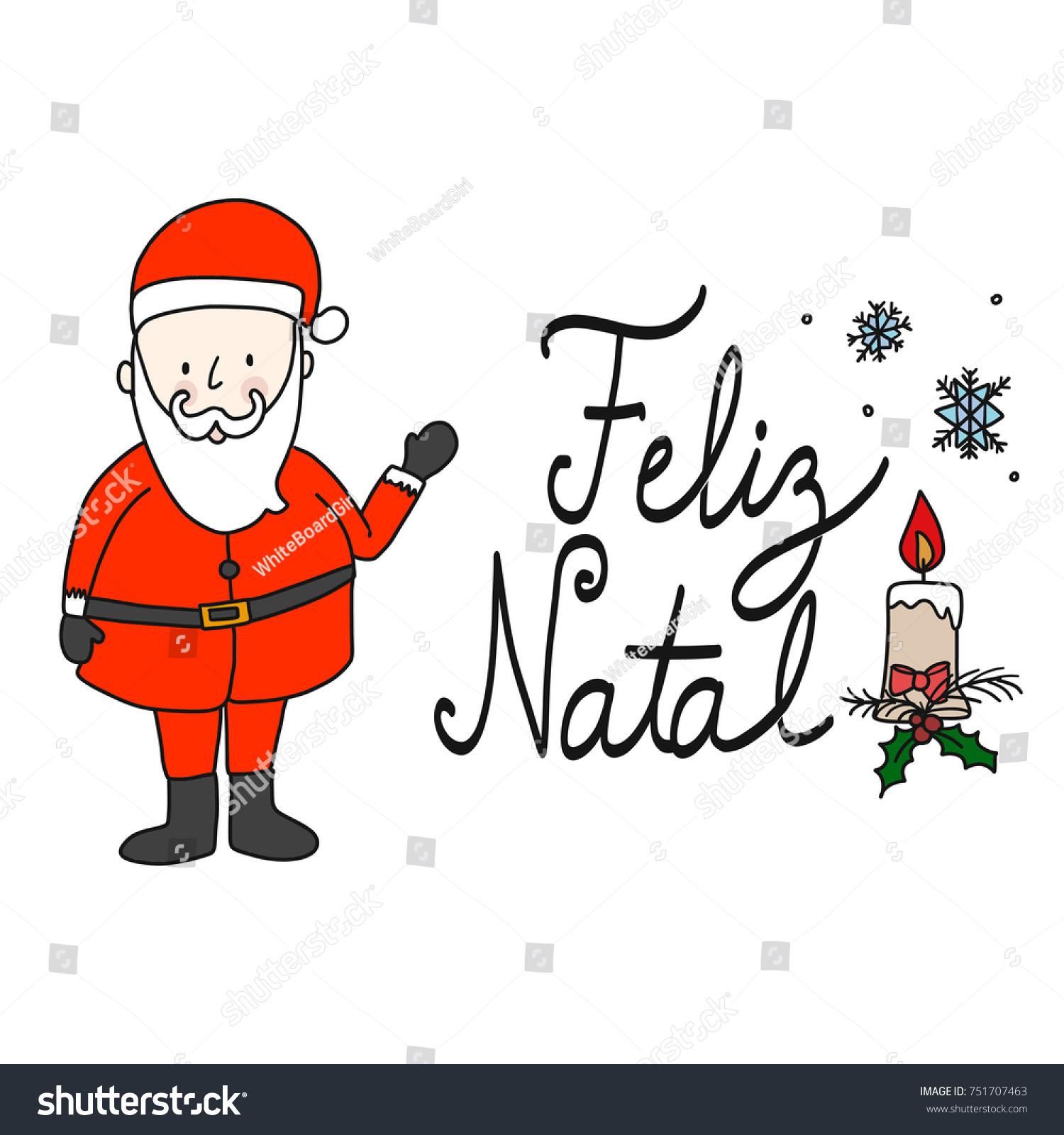 Set santa claus merry christmas portuguese stock vector royalty set santa claus and merry christmas portuguese brazil portugal vector isolate m4hsunfo