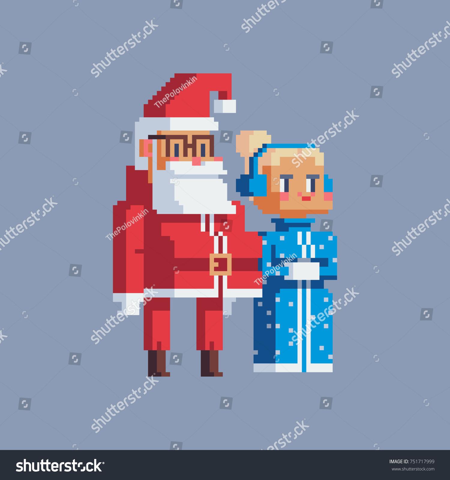 Santa snow maiden greeting card design stock vector 751717999 greeting card design pixel art style characters isolated vector kristyandbryce Gallery