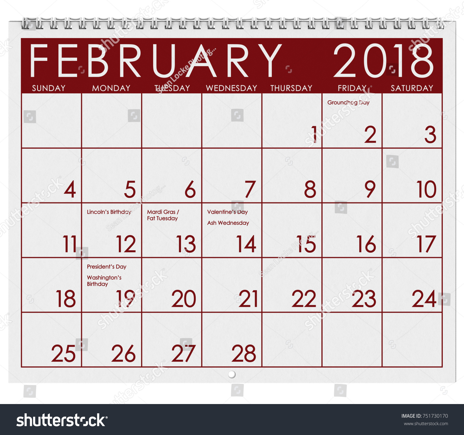 2018 Calendar Month February Valentines Day Stock Photo (Safe to