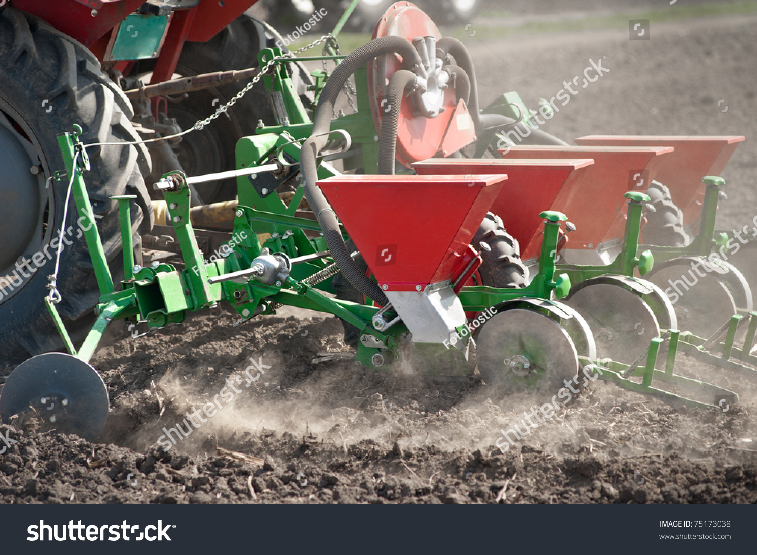 Tractor In Field Planting : Tractor seeder planting crops on field stock photo