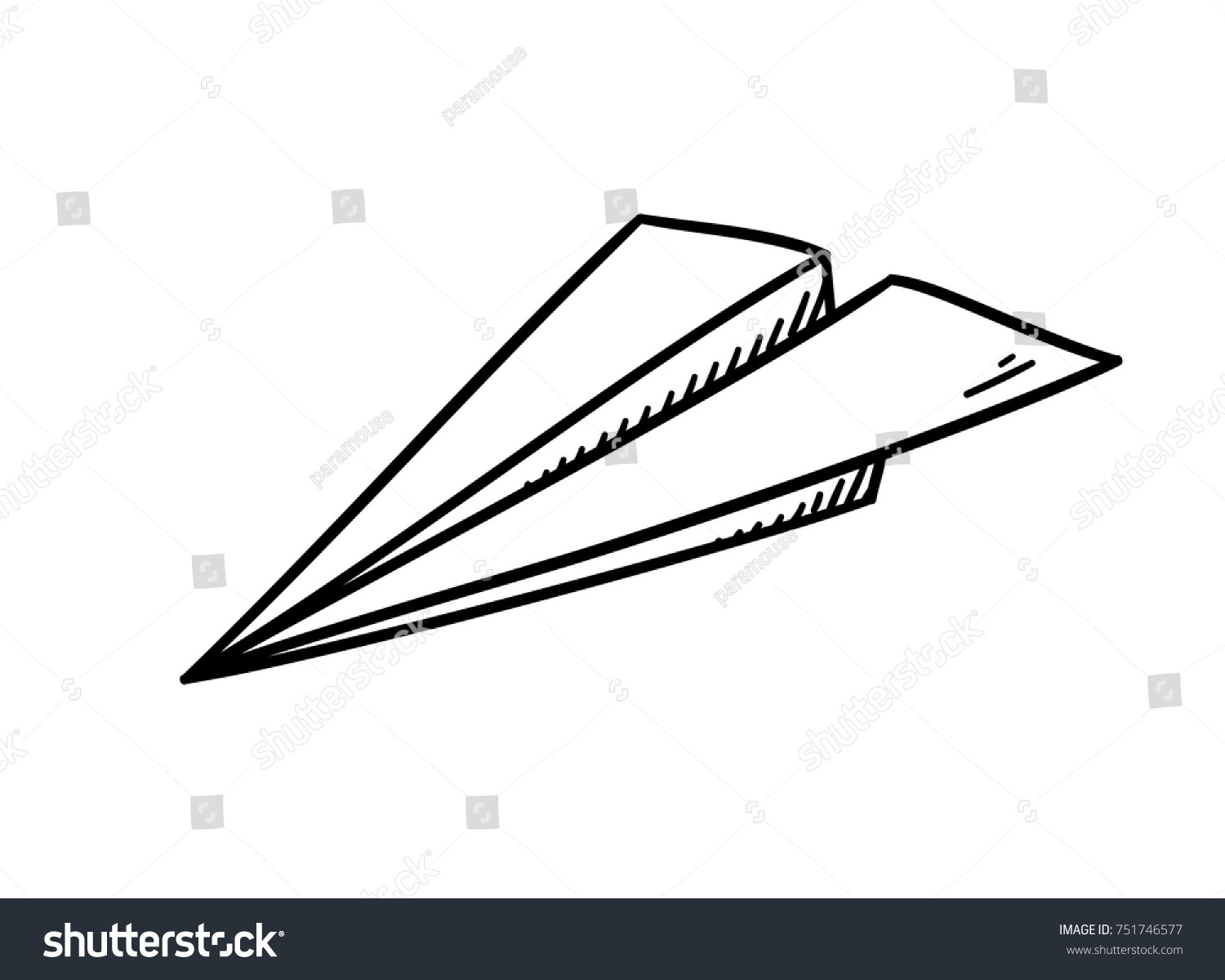 Line Art Illustration Style : Simple paper plane doodle style isolated stock vector 751746577