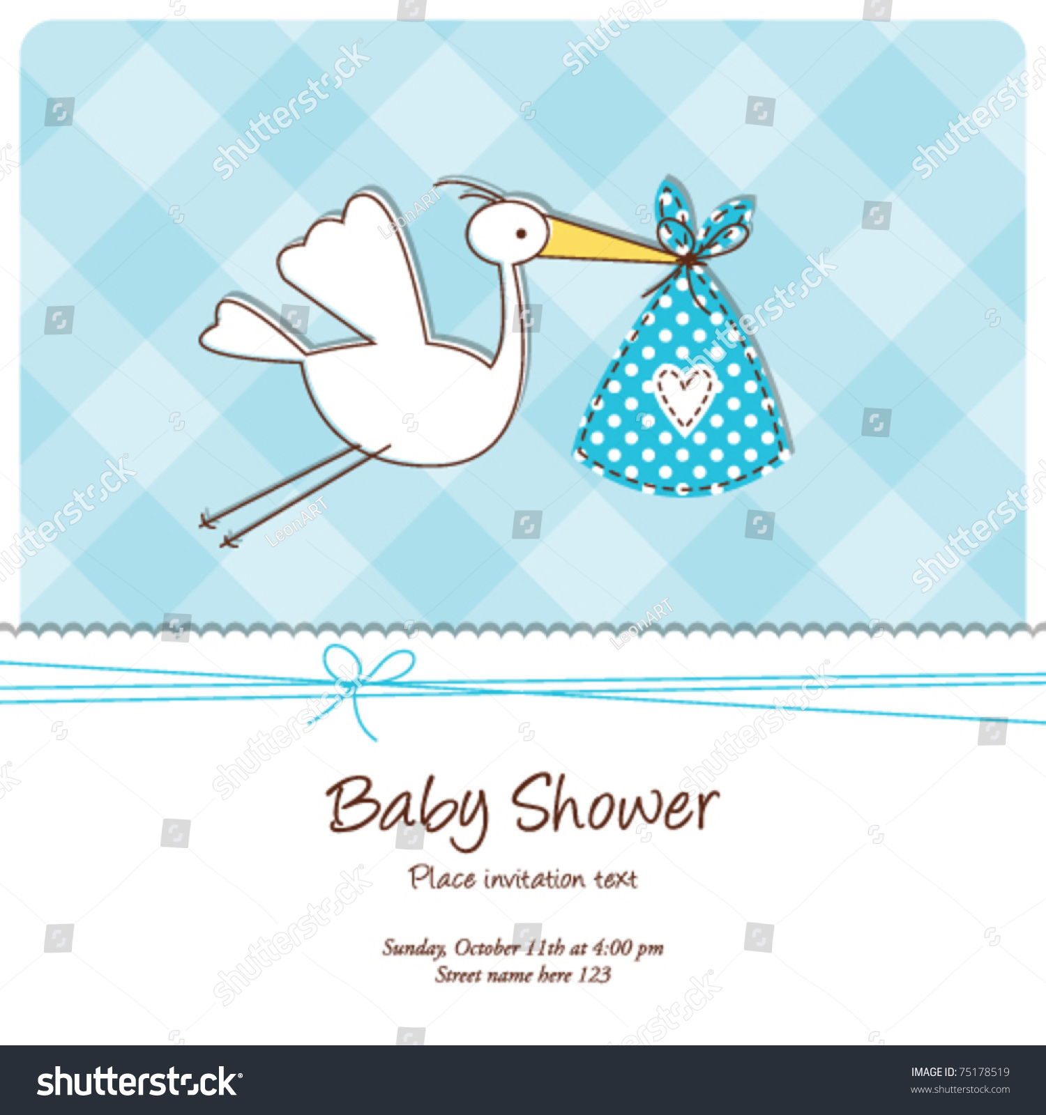 Baby Shower Invitation Template Cute Baby Stock Vector 75178519 ...