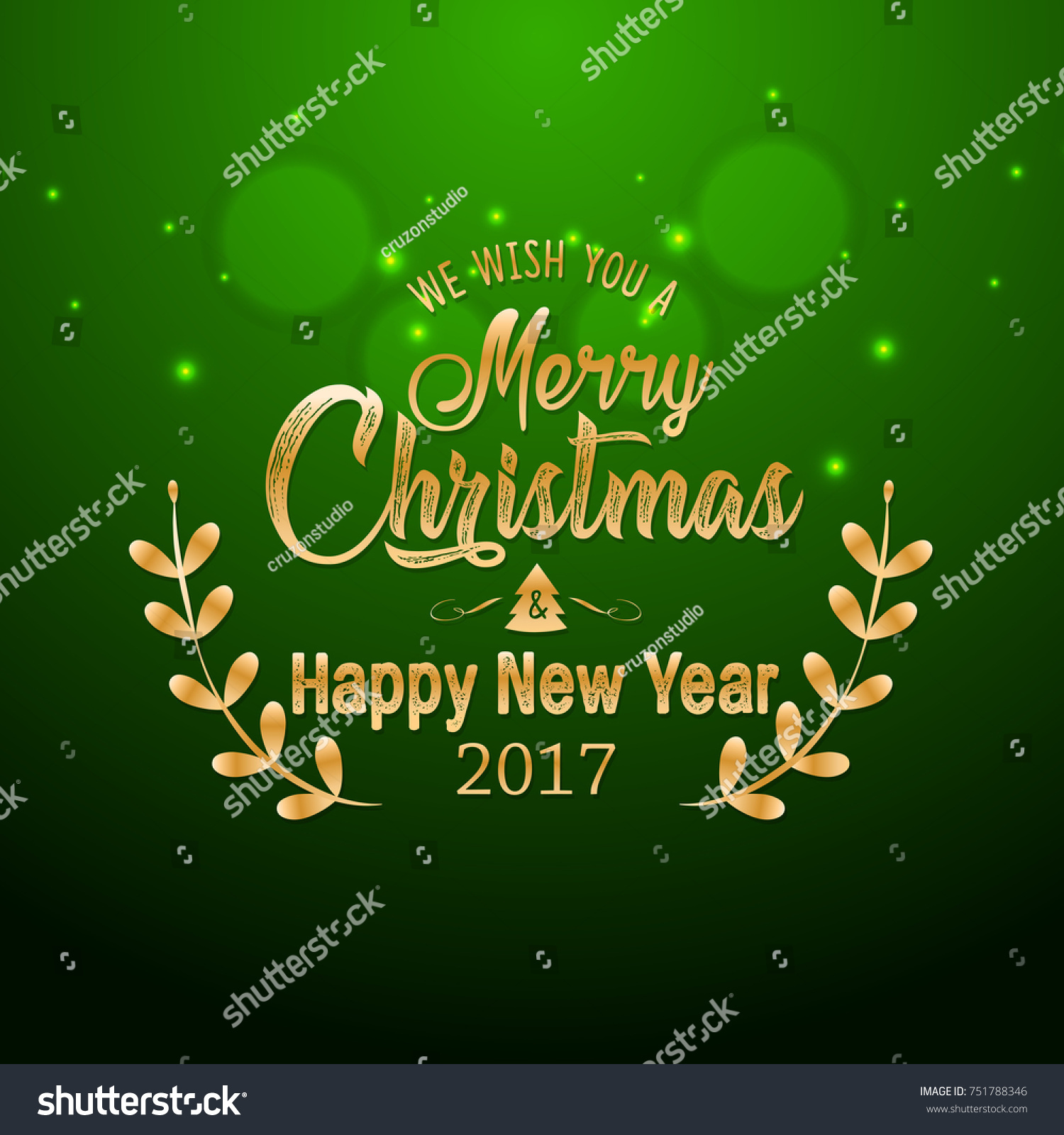 Merry Christmas Happy New Year 2017 Stock Vector 751788346 ...
