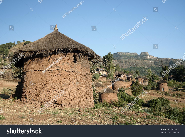 traditional african adobe mud homes lalibela stock photo 75181987