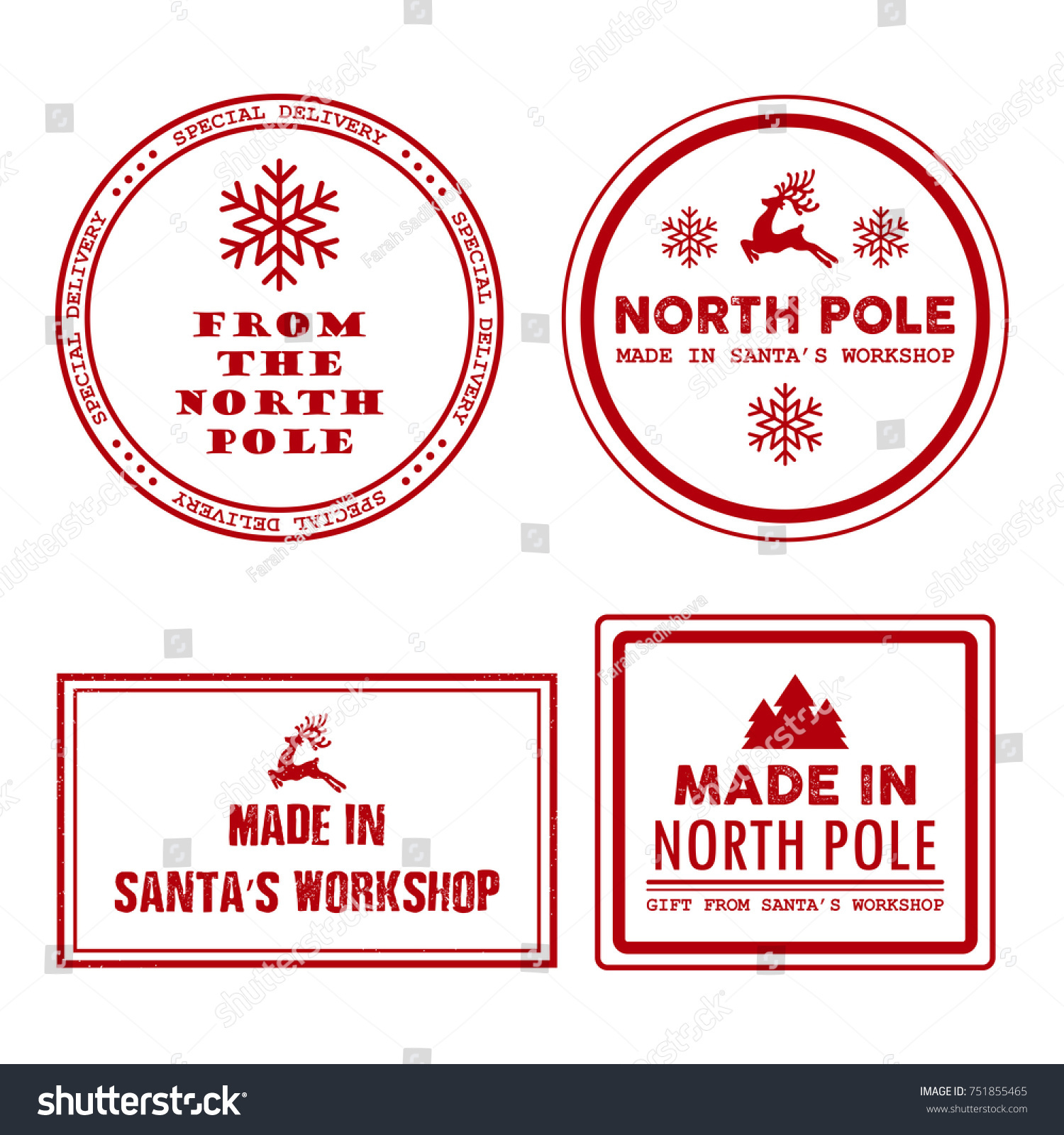 *SECONDS*Christmas Mail Delivery /'Via the North Pole/' Circle Stamp Stickers 37mm