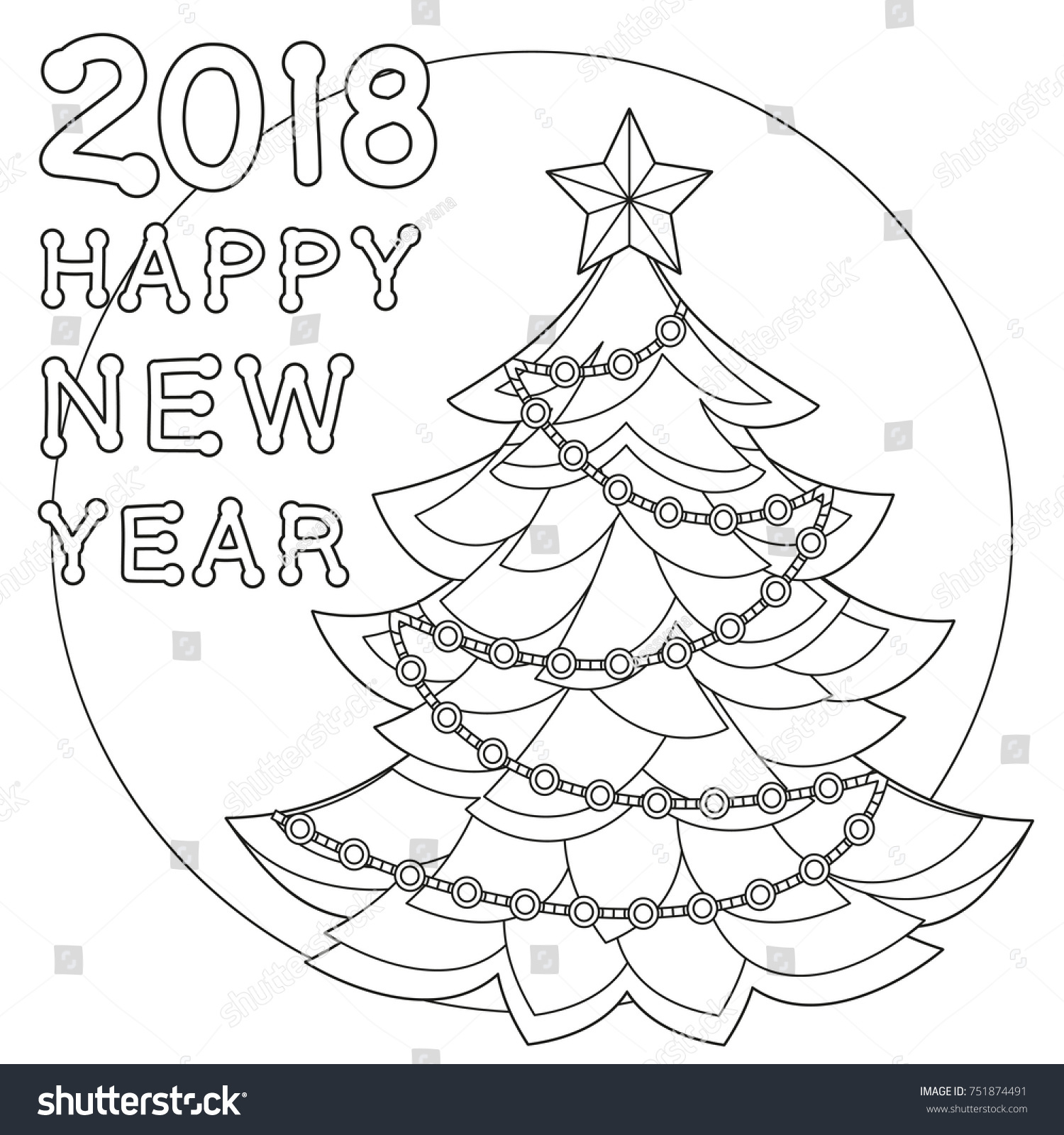 2018 happy new year black and white poster coloring book page for adults and kids