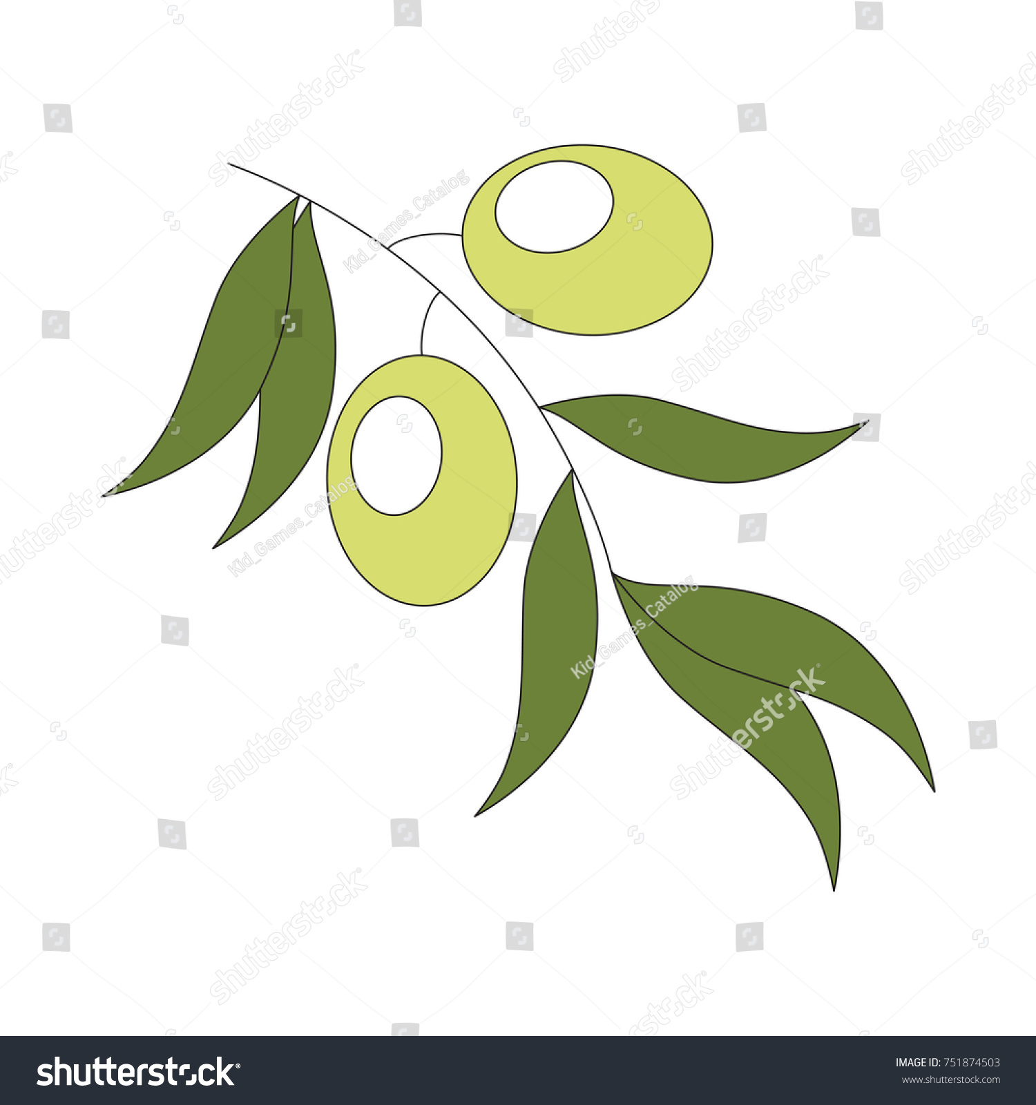 Funny Olive Branch Cartoon Colorful Illustration Stock Vector ...