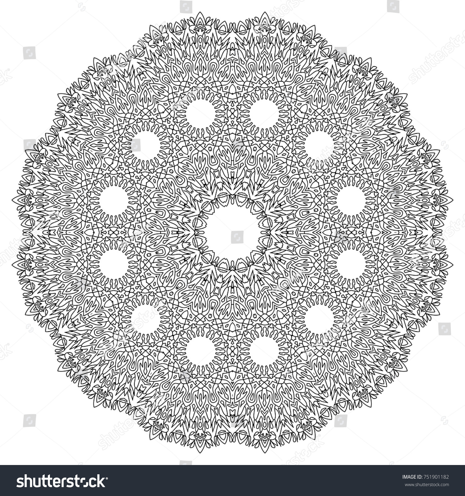 Ethnic Print Adult Coloring Page Mandala Stock Vector 751901182 ...
