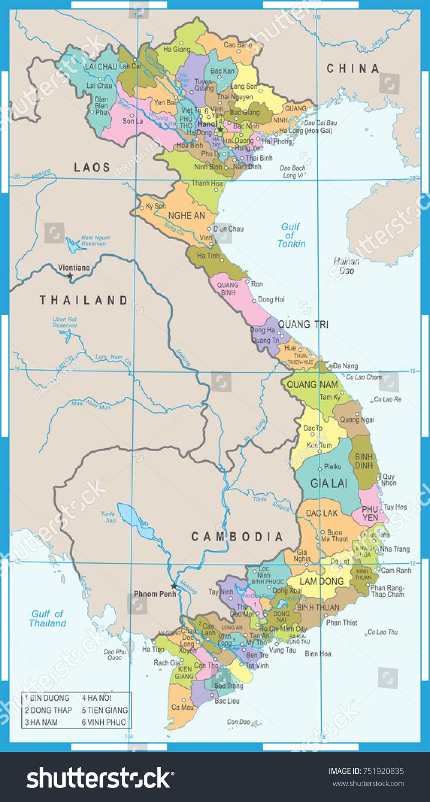 Vietnam Map High Detailed Vector Illustration Stock Vector 2018