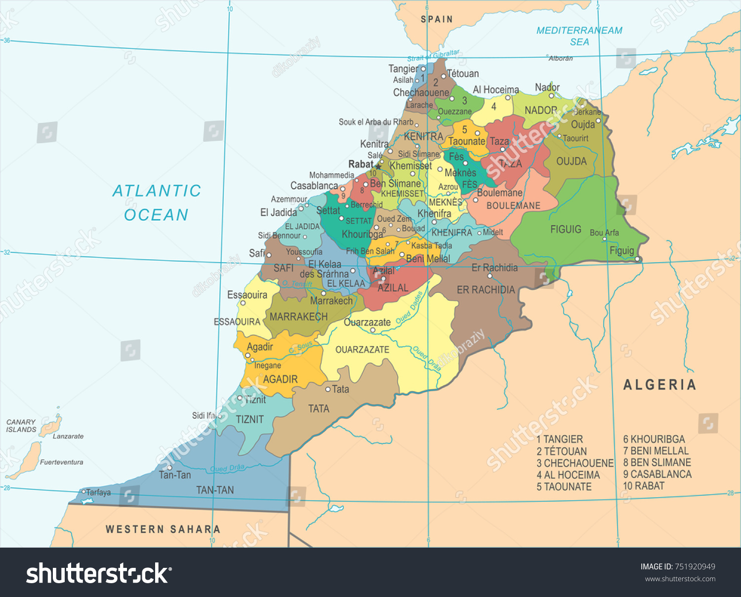 Morocco Map High Detailed Vector Illustration Stock Vector HD