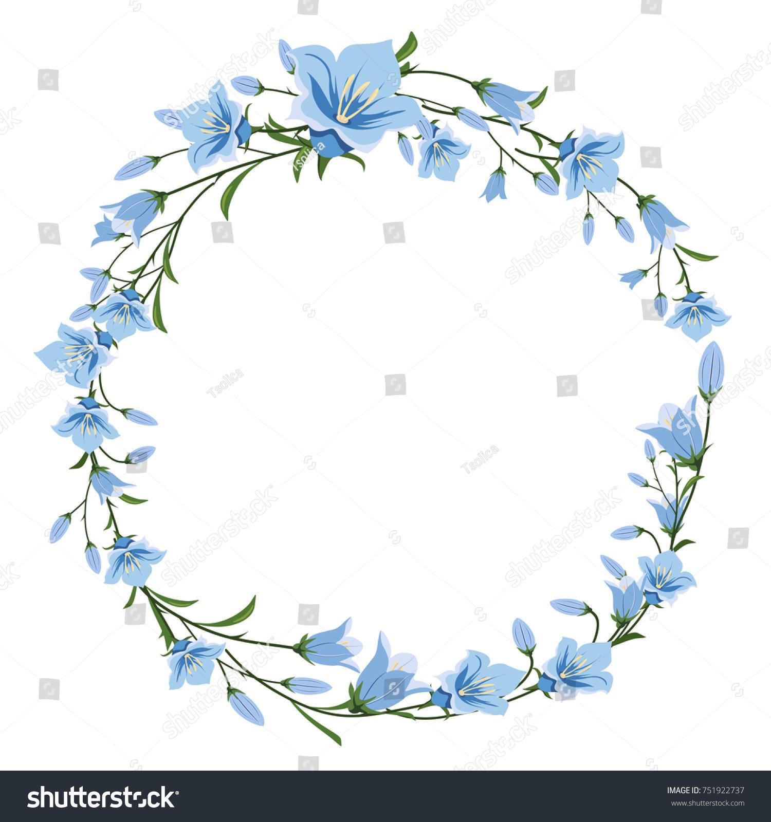 Vector floral wreath blue flowers flower stock vector royalty free vector floral wreath of blue flowers flower frame for greetings invitations design of izmirmasajfo