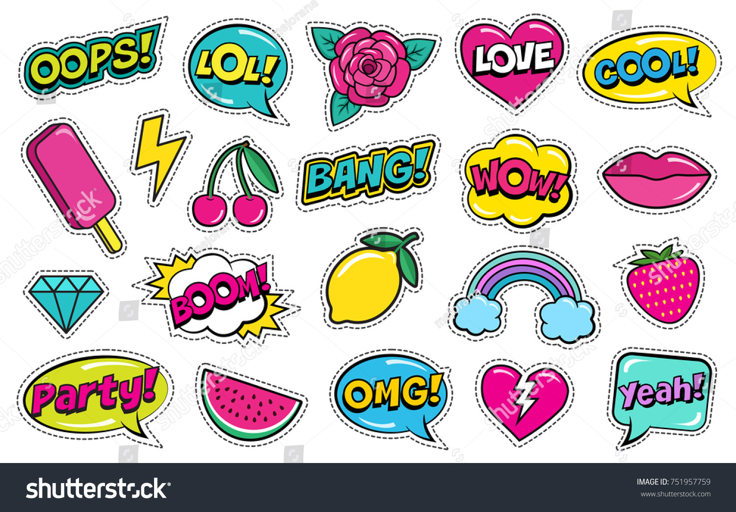Modern cute colorful patch set on white background. Fashion patches of cherry, strawberry, watermelon, lips, rose flower, rainbow, hearts, comic bubbles etc. Cartoon 80s-90s style. Vector illustration #751957759