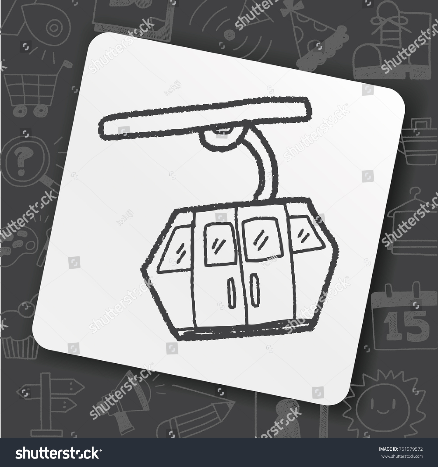 Cable Car Doodle Stock Vector 751979572 - Shutterstock