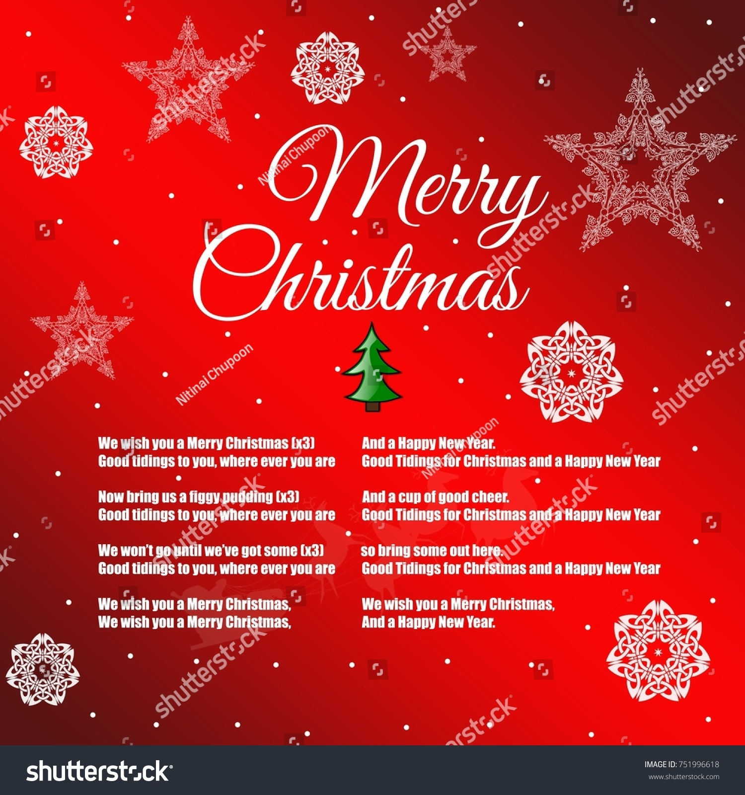 Merry christmas happy new year 2018 stock illustration 751996618 merry christmas and happy new year 2018 greeting card with the words of a song kristyandbryce Choice Image