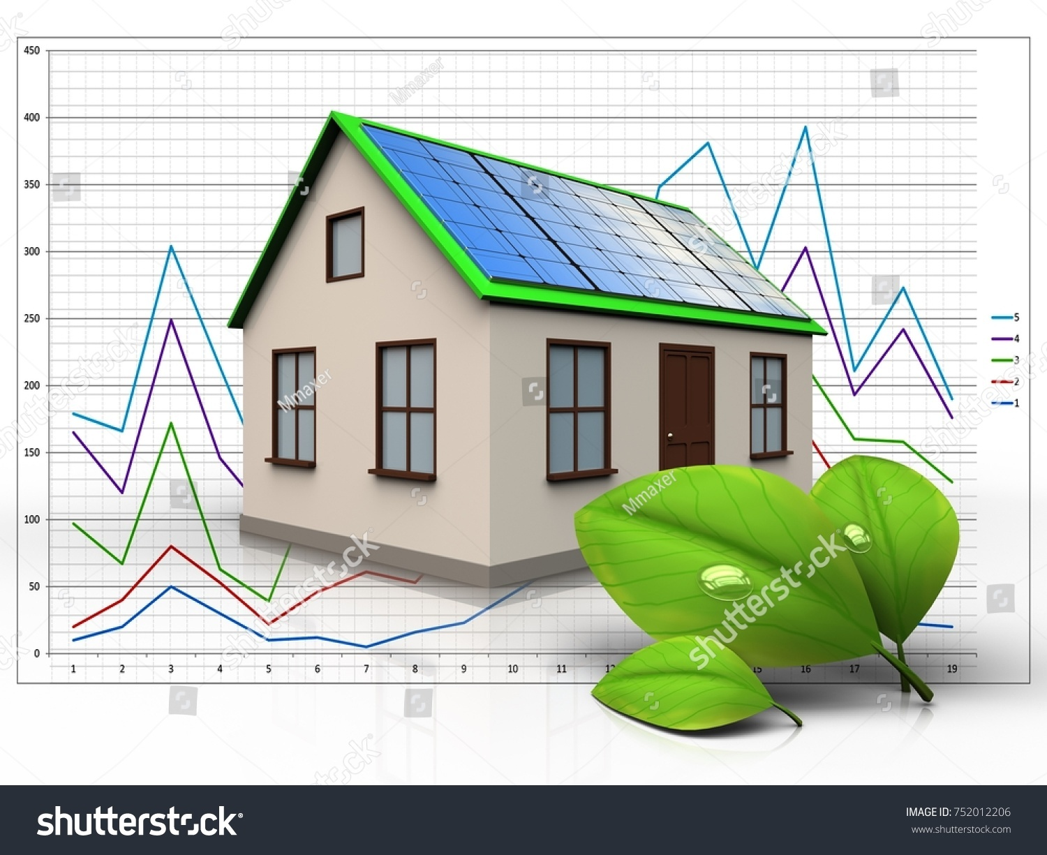 3 D Illustration Home Solar Panel Leafs Stock 752012206 Diagrams 3d Of With Over Diagram Background